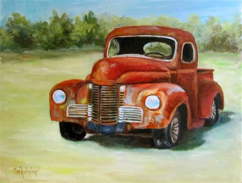 truck painting many truck painting 11x14 original canvas