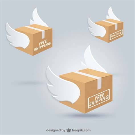 Wings Box Shipping Boxes With Wings Vector Free