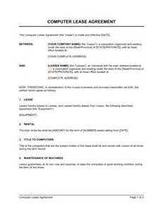 Employee Vehicle Use Agreement Template by Computer Lease Agreement Template Sle Form