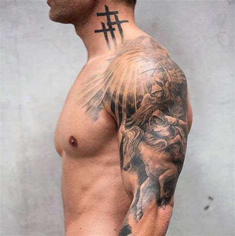 men side tattoos cross on side of neck tattooic