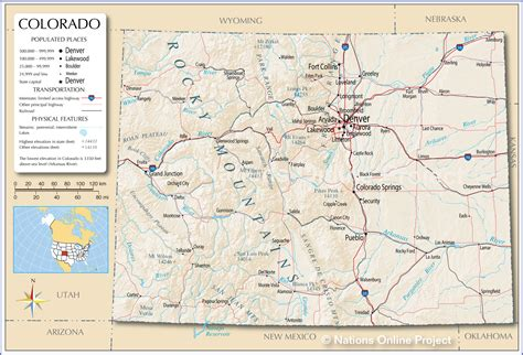 detailed map of colorado usa reference maps of colorado usa nations project