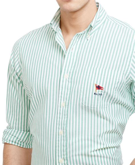 lyst polo ralph striped oxford mercer shirt in green for