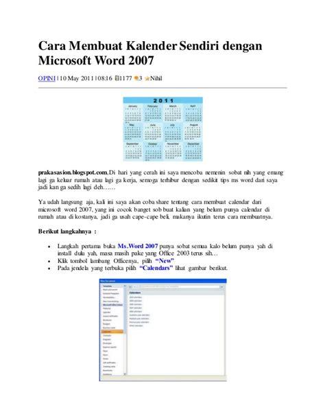 cara membuat novel dengan microsoft word cara membuat kalender sendiri dengan microsoft word 2007