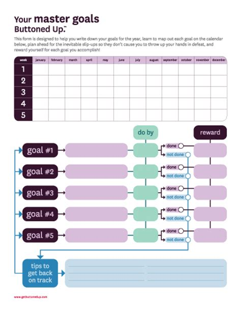 goal setting calendar template free printable master goals form 171 buttoned up