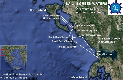 sailing greece routes itinerary for sailing holidays in the northern ionian islands