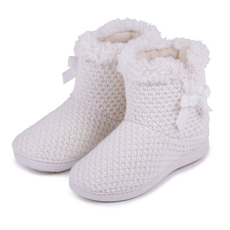 knitted boot slippers isotoner lurex knit boot slippers ebay
