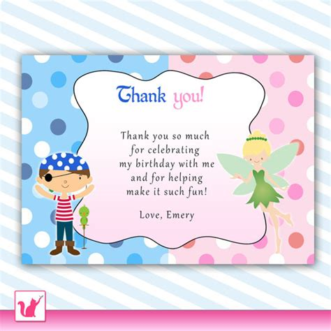 pirate thank you card pixie pink blue birthday notes printable personalized