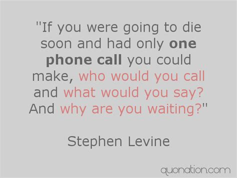 If I Were A Phone I Would Be by Stephen Levine Quotes If You Were Going To Die Soon And