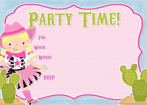 free printable party invitations free cowgirl invitations