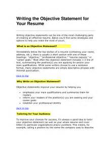 Objective Statement Exles For Resume by Resume Objective Statement Obfuscata