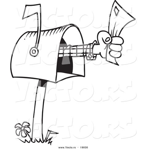 coloring pages of letter box vector of a cartoon mailbox outlined coloring page by