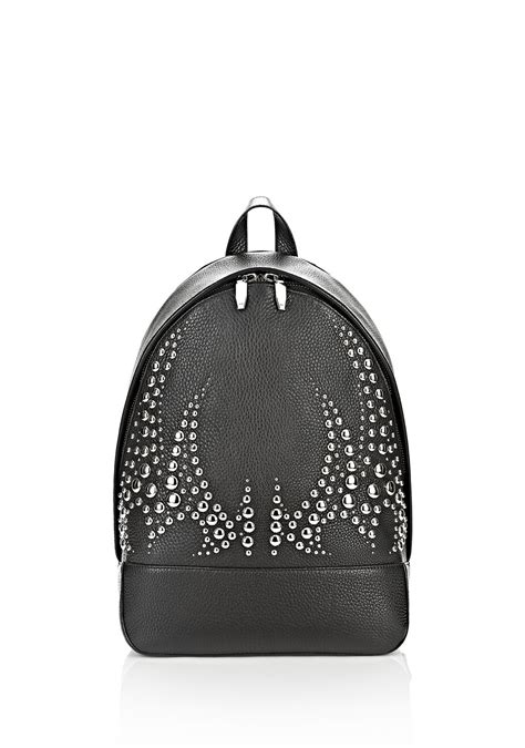 Esmonia Studed M8081 2 wang runway studded backpack in black with rhodium backpack official site