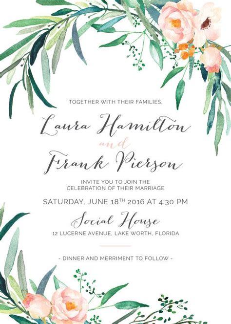 printable wedding invitation set greenery wedding invitations watercolor foliage modern