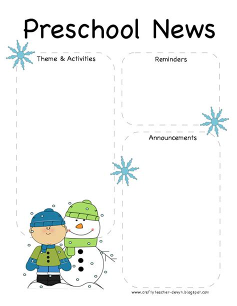 free printable preschool newsletter templates the crafty preschool winter newsletter template