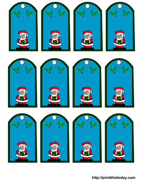 printable santa claus christmas gift tags