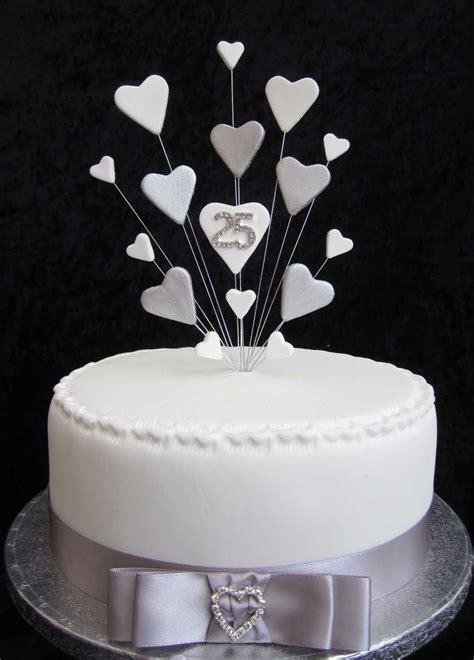 25th silver wedding anniversary birthday cake topper