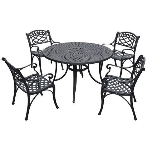 sedona 48 inch five cast aluminum outdoor dining set