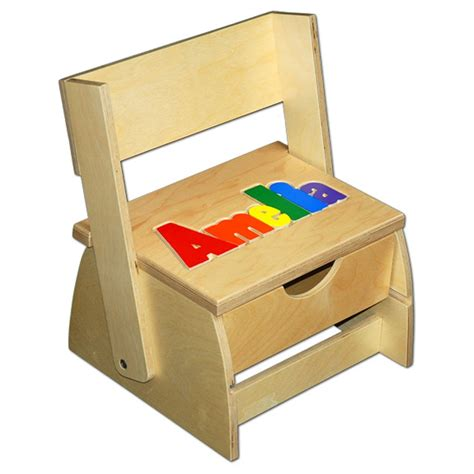 Wooden Puzzle Step Stool by Step N Store Name Puzzle Stool Damhorst Toys Puzzles