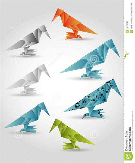 Folded Paper Birds - folded paper birds stock photography image 29126242