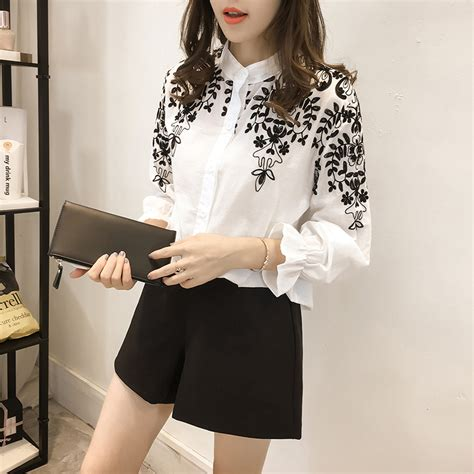 Korean Embroidery Blouse 2017 fashion clothing embroidery blouse shirt