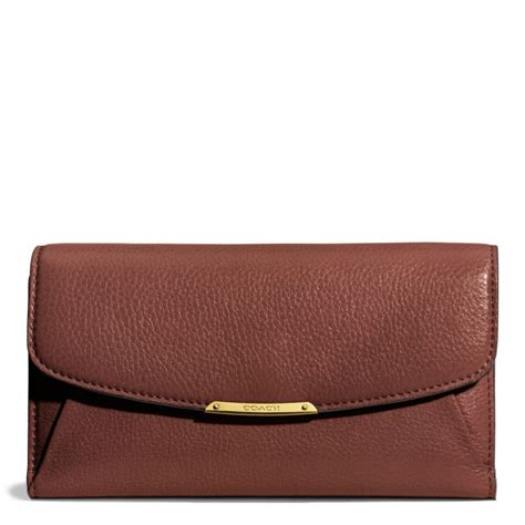 Coach Madison Checkbook Wallet in Leather in Brown   Lyst