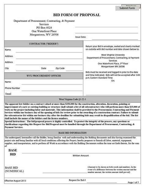 bid document template 31 construction template construction bid forms
