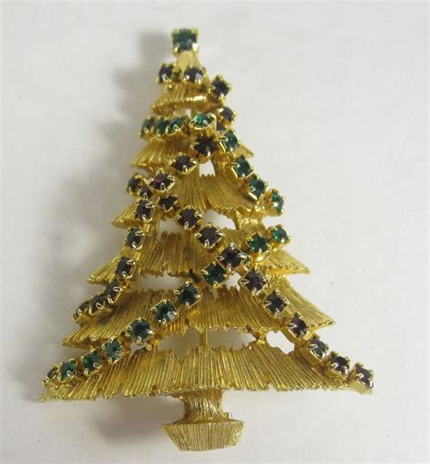 vintage christmas tree pin green red rhinestone garland