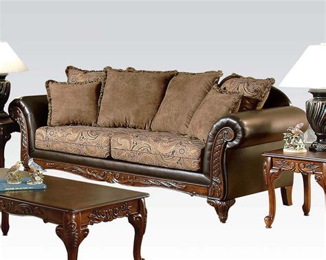 traditional loveseats traditional sofa w 6 pillows fairfax by acme furniture
