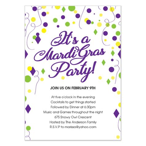 Mardi Gras Card Template by Mardi Gras Evite Invitations Cards On Pingg