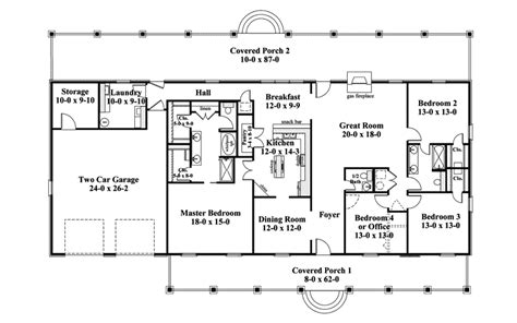 One Story Floor Plan One Story Ranch Style House Plans Traditional House Plan Floor 028d 0072 House Plans