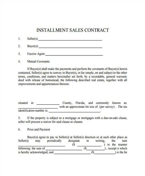 Installment Sale Agreement Template 7 installment contract form sles free sle