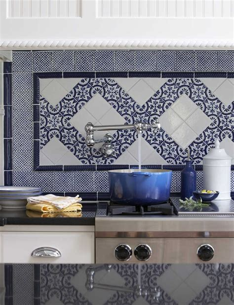 french blue and white ceramic tile backsplash a blue and white backsplash to envy stacystyle s blog