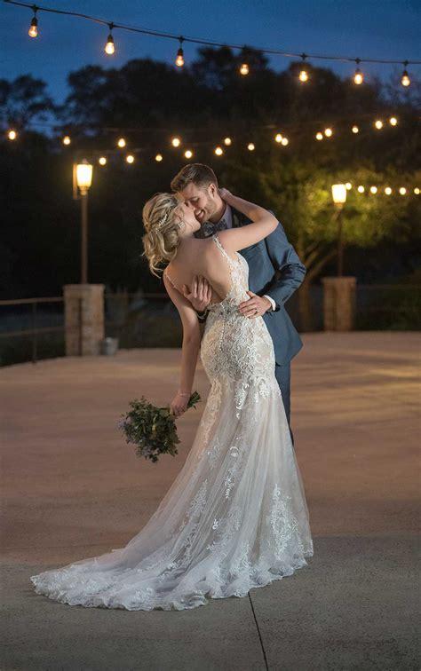 layered lace wedding dress  plunging  neckline