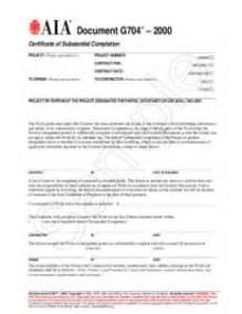 document g704 2000 tm certificate of substantial