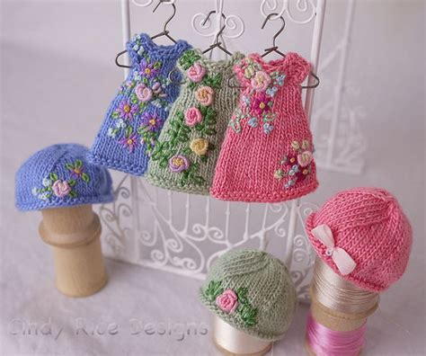 The Teeny Tiny Hat Committee by Knit And Embroidered Dress Hat Sets For Teeny Tiny