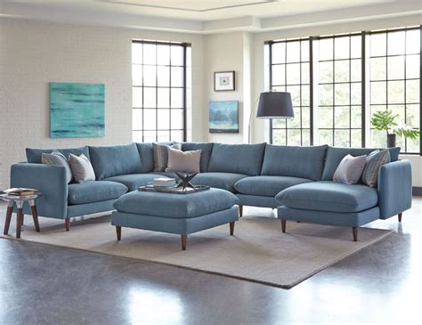 Melbourne Blue Upholstered 6 Piece Casual Modern Sectional Modern Sofa Melbourne