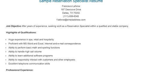 Reservation Specialist Sle Resume by Resume Sles Sle Reservation Specialist Resume