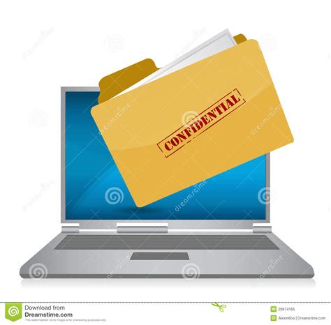 Confidential Computer Files Illustration Royalty Free