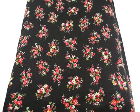 Floral Printed Knit Jersey Fabric And Black By The Yard