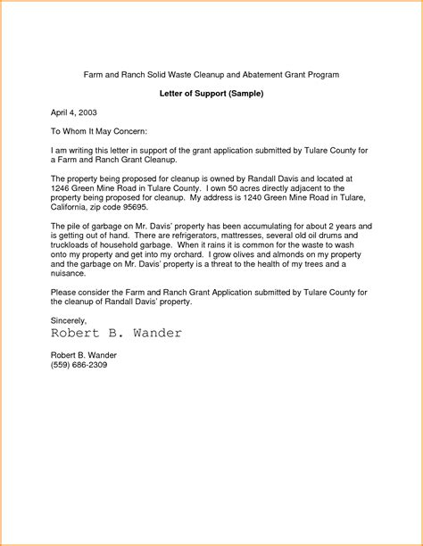 Support Letter Template Grant Letter Of Support Articleezinedirectory