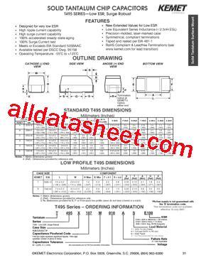 kemet capacitors datasheet t495 datasheet pdf kemet corporation