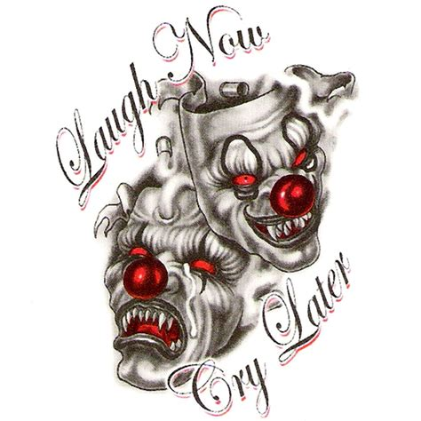 evil clown tattoos temporary laugh now cry later evil clown mask