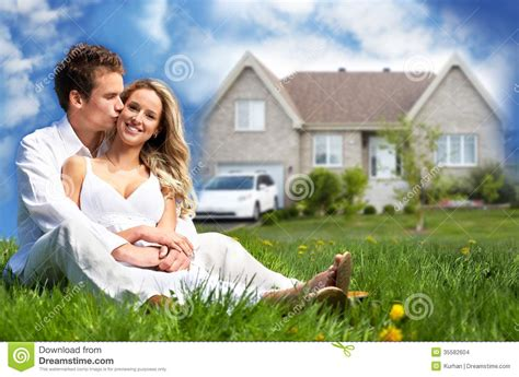 happy family near new house stock images image 35582604