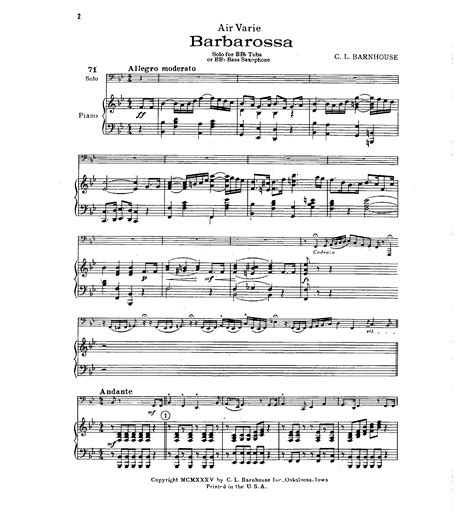 barn house music barbarossa tuba solo with piano by c j w pepper sheet music