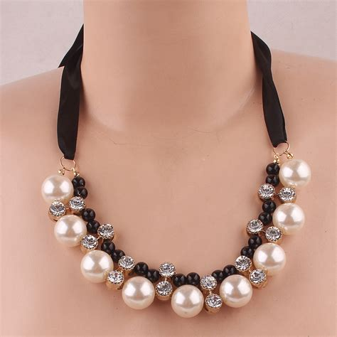 Choker Big Shining Choker 2014 jewelry pretty shining austrian big handmade pearl pendant black