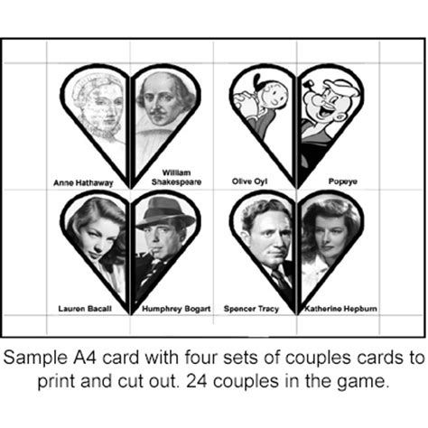 printable card games for couples famous couples card game matching game printable box