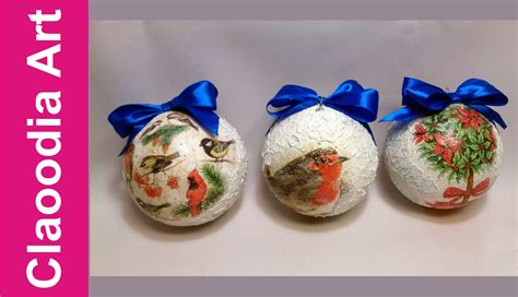 Decoupage Baubles - bombka decoupage pasta 蝗niegowa bauble snow effect my