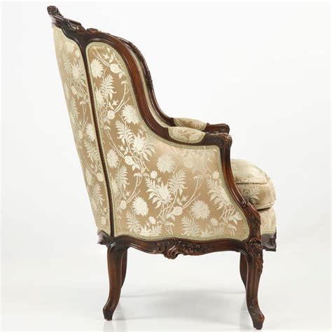 louis xv armchair 19th century rococo revival antique bergere armchair in