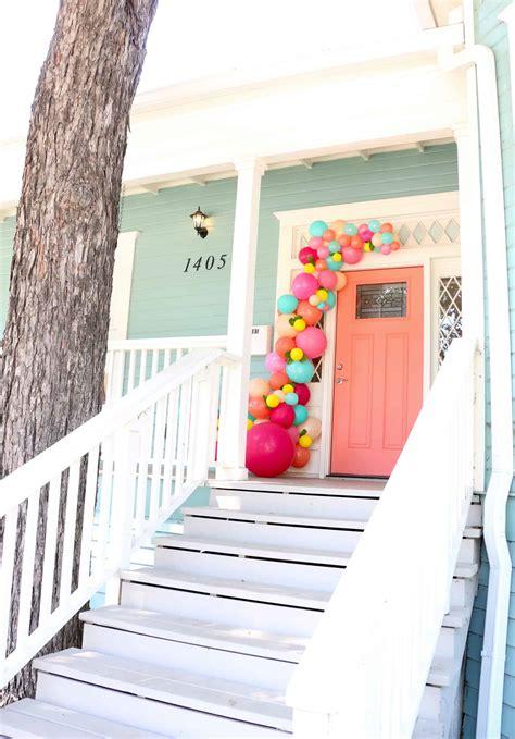 balloon garland   front door  beautiful mess