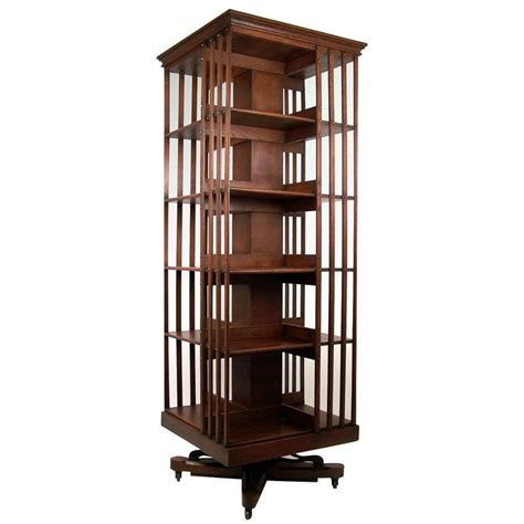 Rotating Bookcase large american oak revolving bookcase at 1stdibs